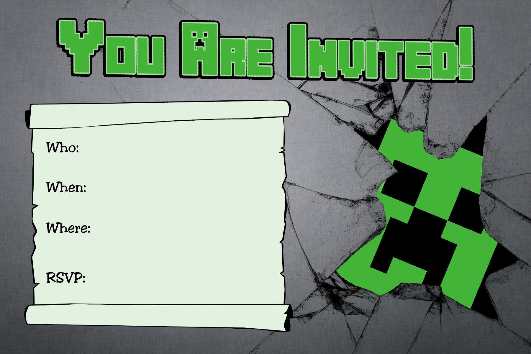 Free Minecraft Invitation Template Inspirational 40th Birthday Ideas Free Printable Minecraft Birthday