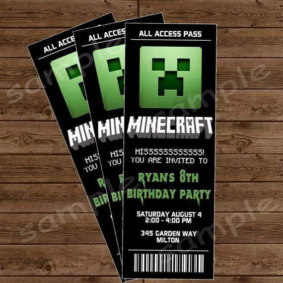 Free Minecraft Invitation Template Lovely Items Similar to Minecraft Ticket Invitation Minecraft