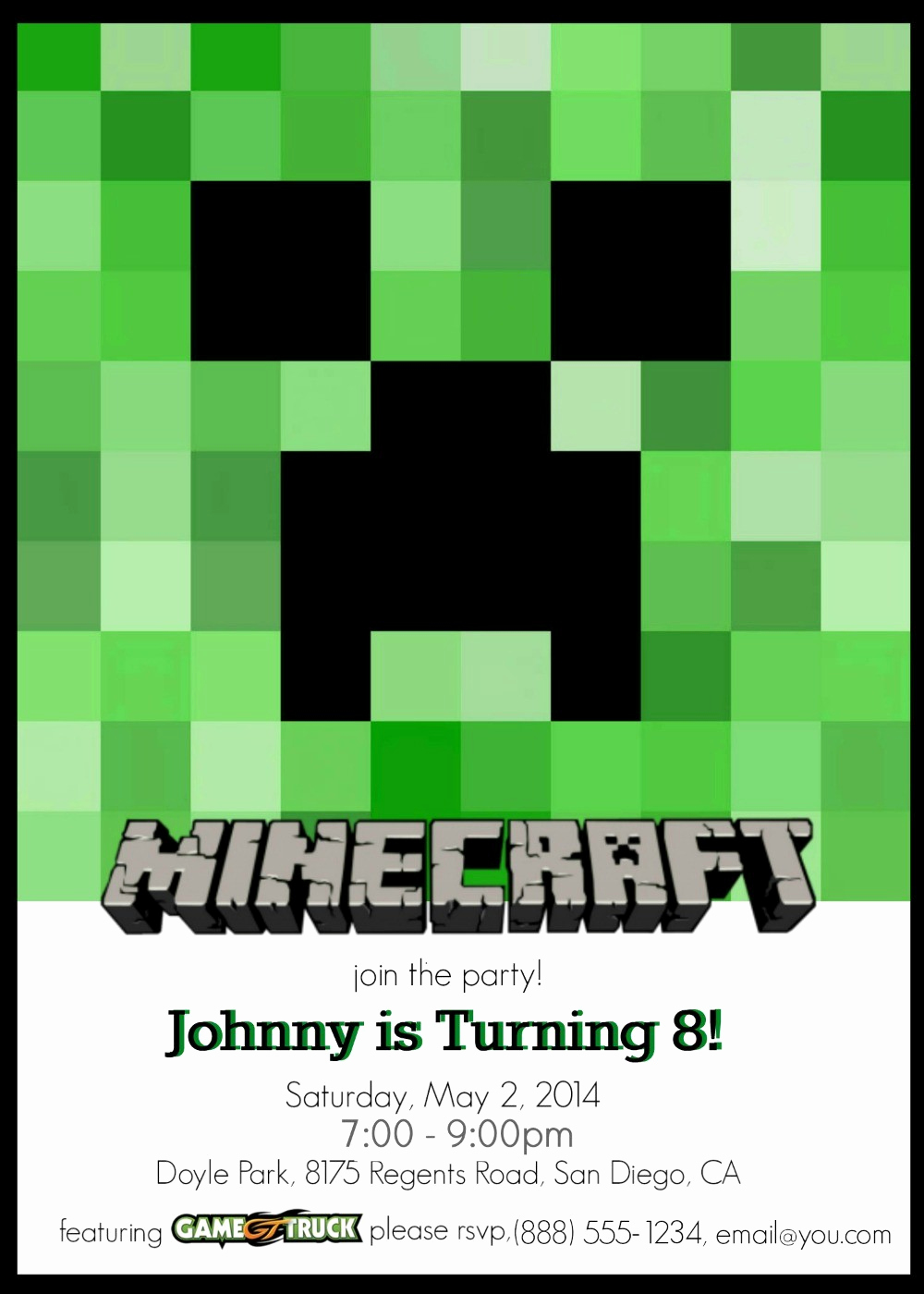 Free Minecraft Invitation Template Lovely Make Your Own Custom Printable Minecraft Party Invitations