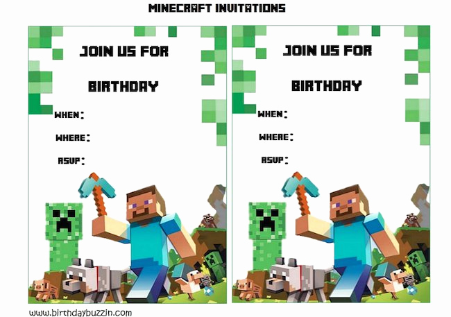 Free Minecraft Invitation Template Luxury 43 Free Birthday Party Invitation Templates Free