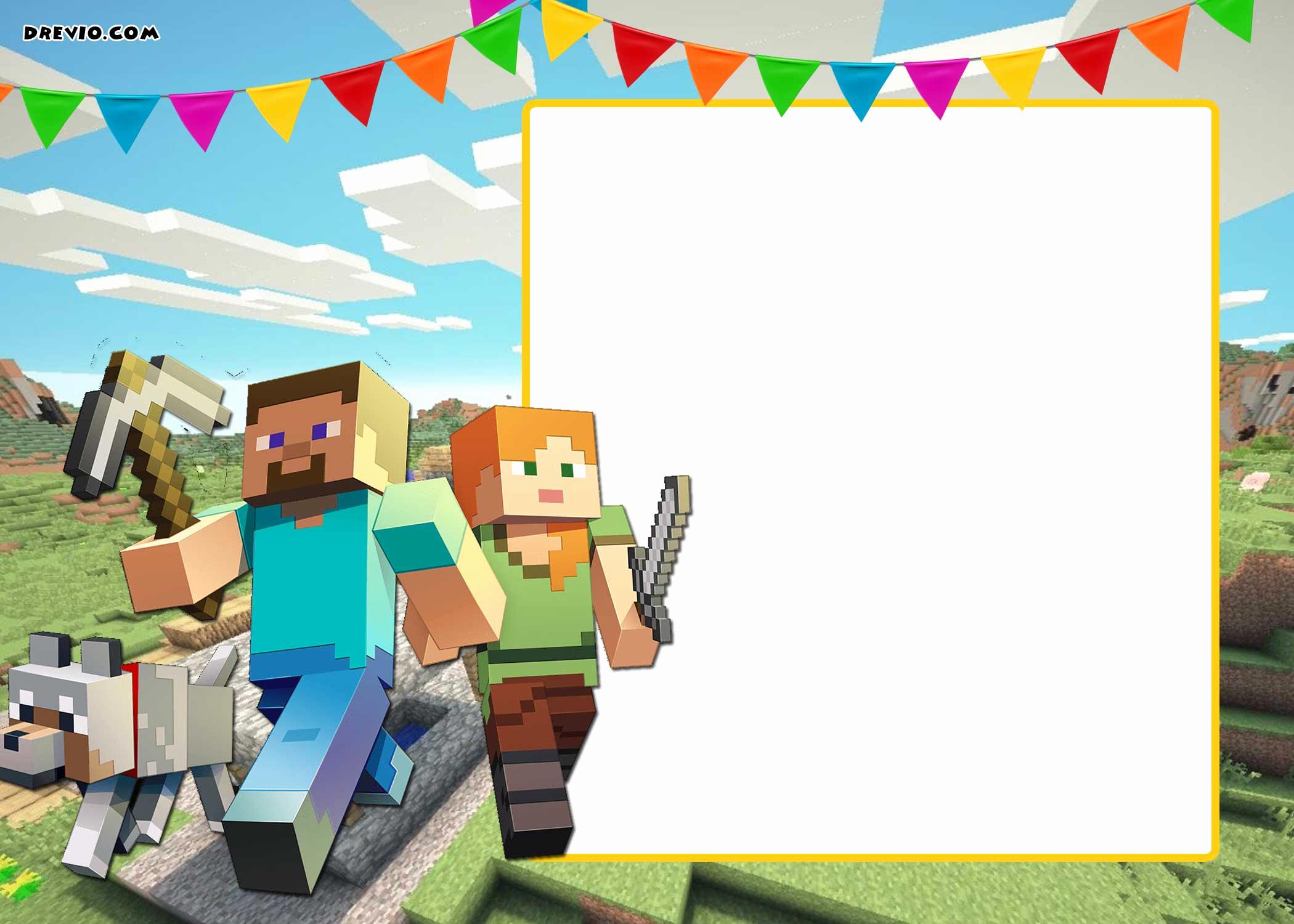 Free Minecraft Invitation Template Luxury Free Printable Minecraft Birthday Invitation Template
