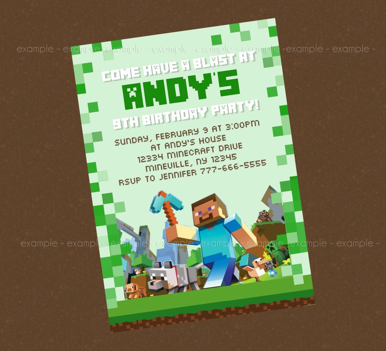 Free Minecraft Invitation Template Unique 40th Birthday Ideas Minecraft Birthday Invitation
