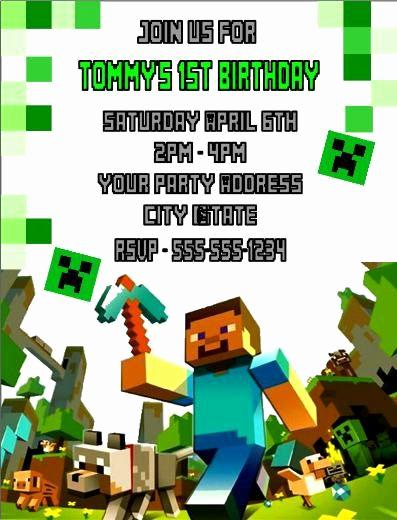 Free Minecraft Invitation Templates Beautiful Minecraft Birthday Party Invitations Custom by