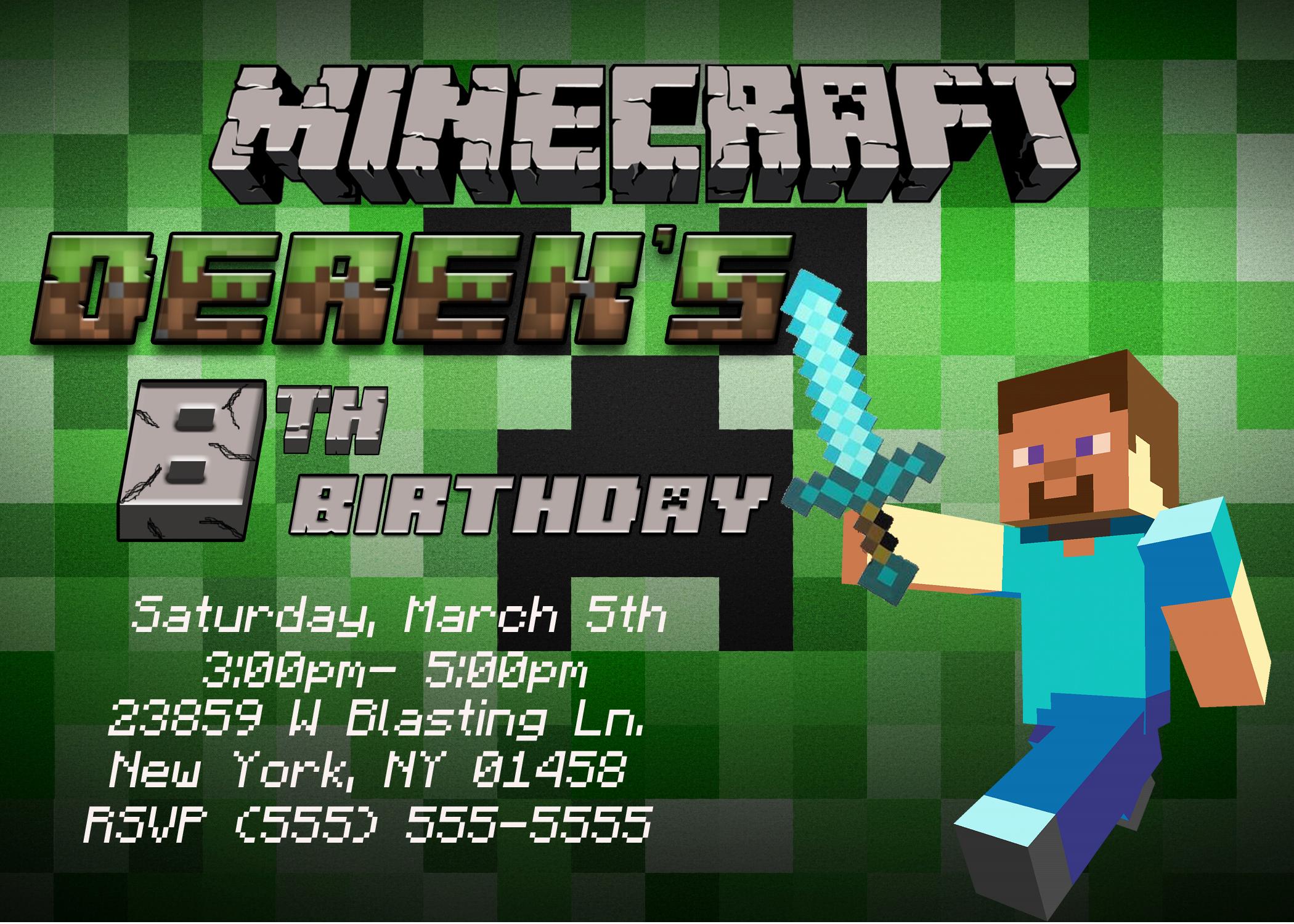 Free Minecraft Invitation Templates Elegant Minecraft Birthday Invitations Template