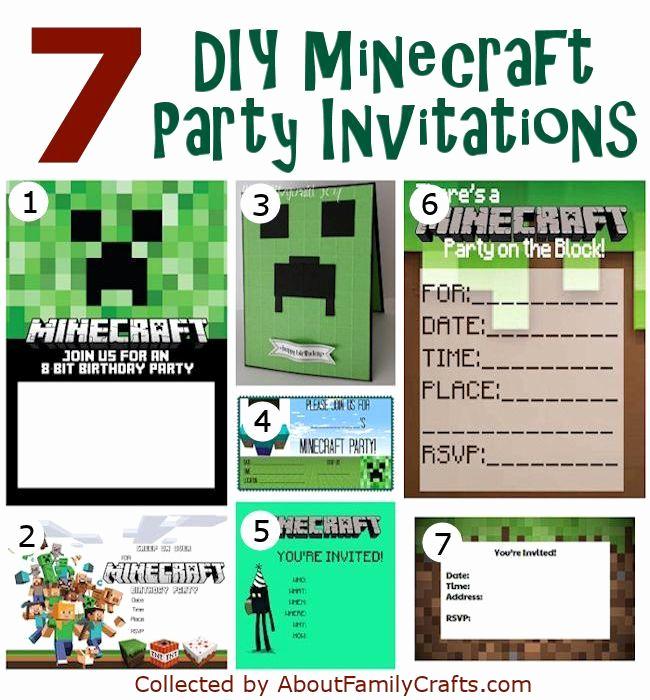 Free Minecraft Invitation Templates Fresh 50 Diy Minecraft Birthday Party Ideas