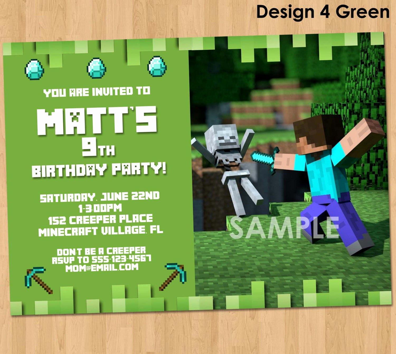 Free Minecraft Invitation Templates Inspirational Minecraft Birthday Invitations Minecraft Birthday