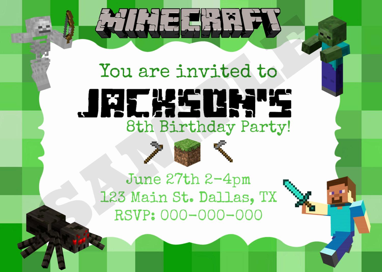 Free Minecraft Invitation Templates Luxury Free Minecraft Invitation Templates