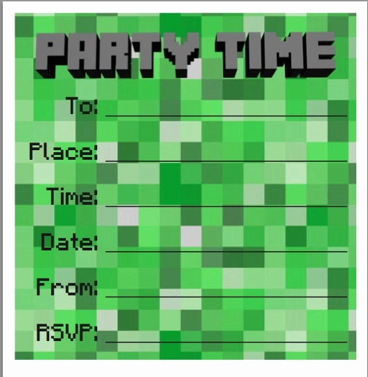 Free Minecraft Invitation Templates New Party Invites Minecraft Style 10 Pack