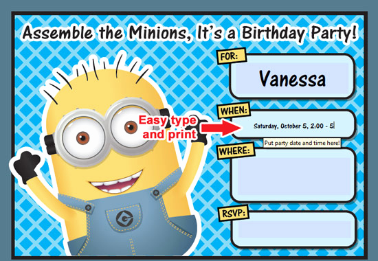 Free Minion Invitation Template Elegant Free Printable Despicable Me Minion Birthday Invitation