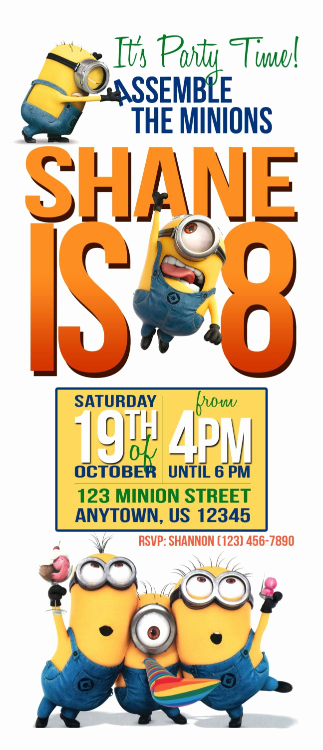 Free Minion Invitation Template Elegant Free Printable Minion Birthday Party Invitations Ideas
