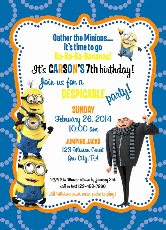 Free Minion Invitation Template Luxury Despicable Me Minion Birthday Invitation by Ckfireboots On