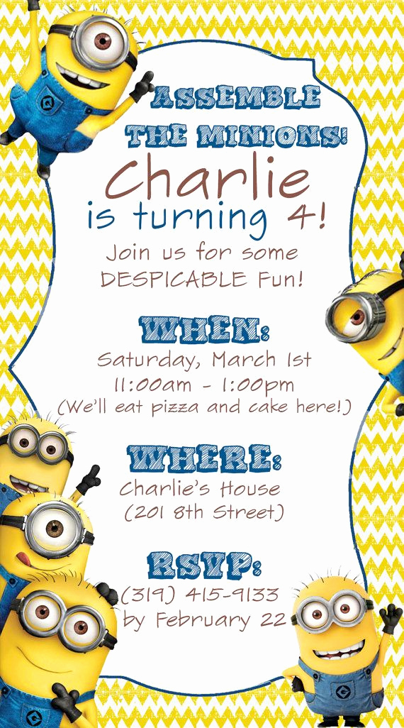 Free Minion Invitation Template New 25 Best Ideas About Minion Invitation On Pinterest