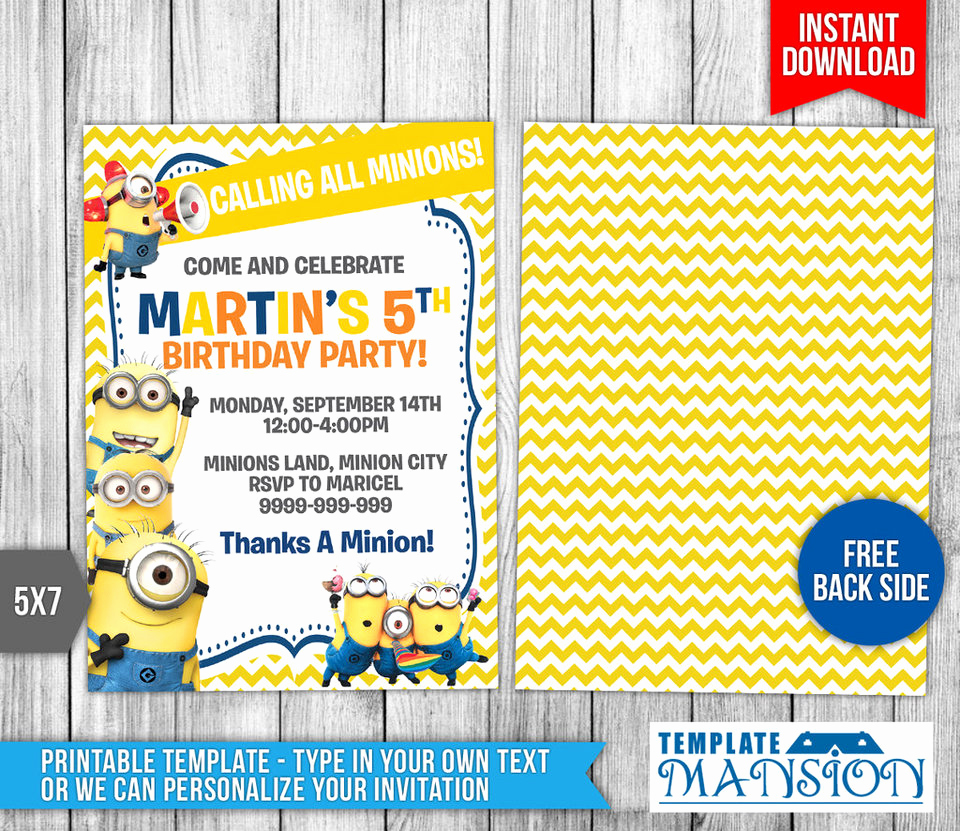 Free Minion Invitation Template New Minions Invitation Minions Birthday Invitation by