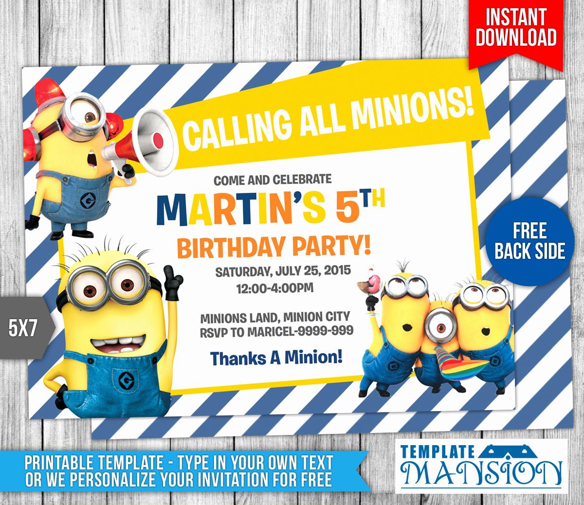 Free Minion Invitation Templates Beautiful Minions Birthday Invitation 7 by Templatemansion On
