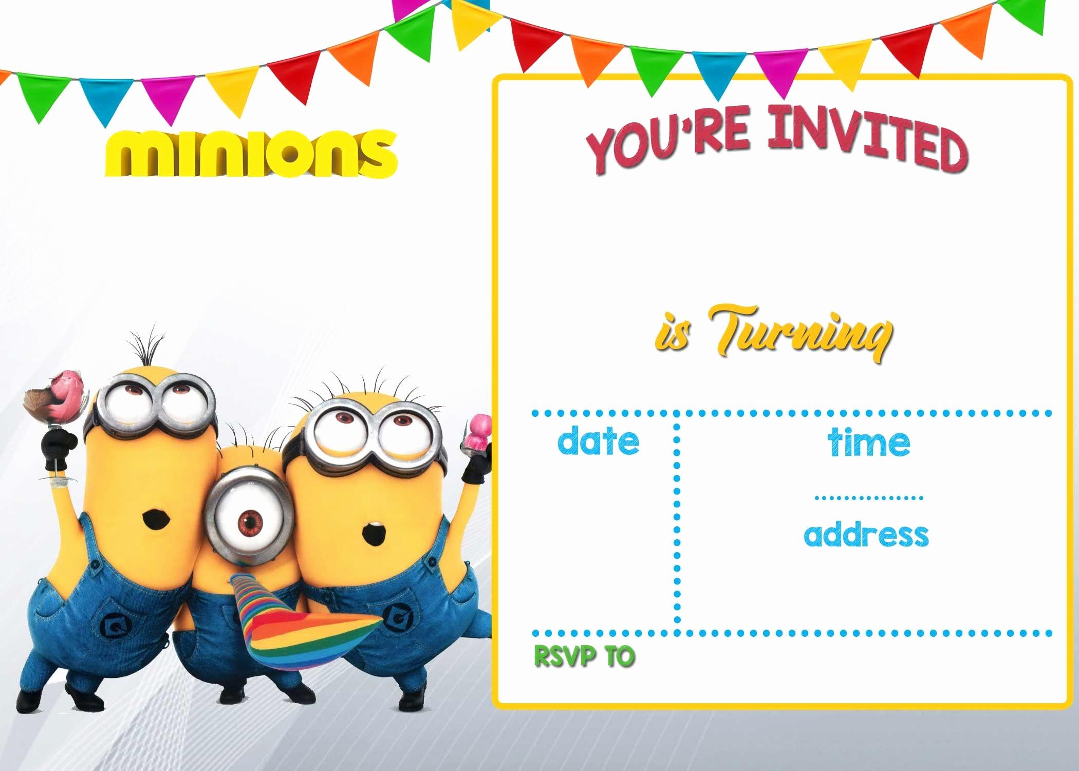Free Minion Invitation Templates Fresh Cartoon Invitation Ppt Template