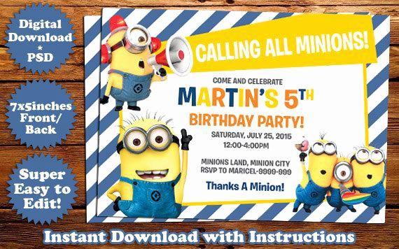 Free Minion Invitation Templates Fresh Instant Download Minions Birthday Invitation Template