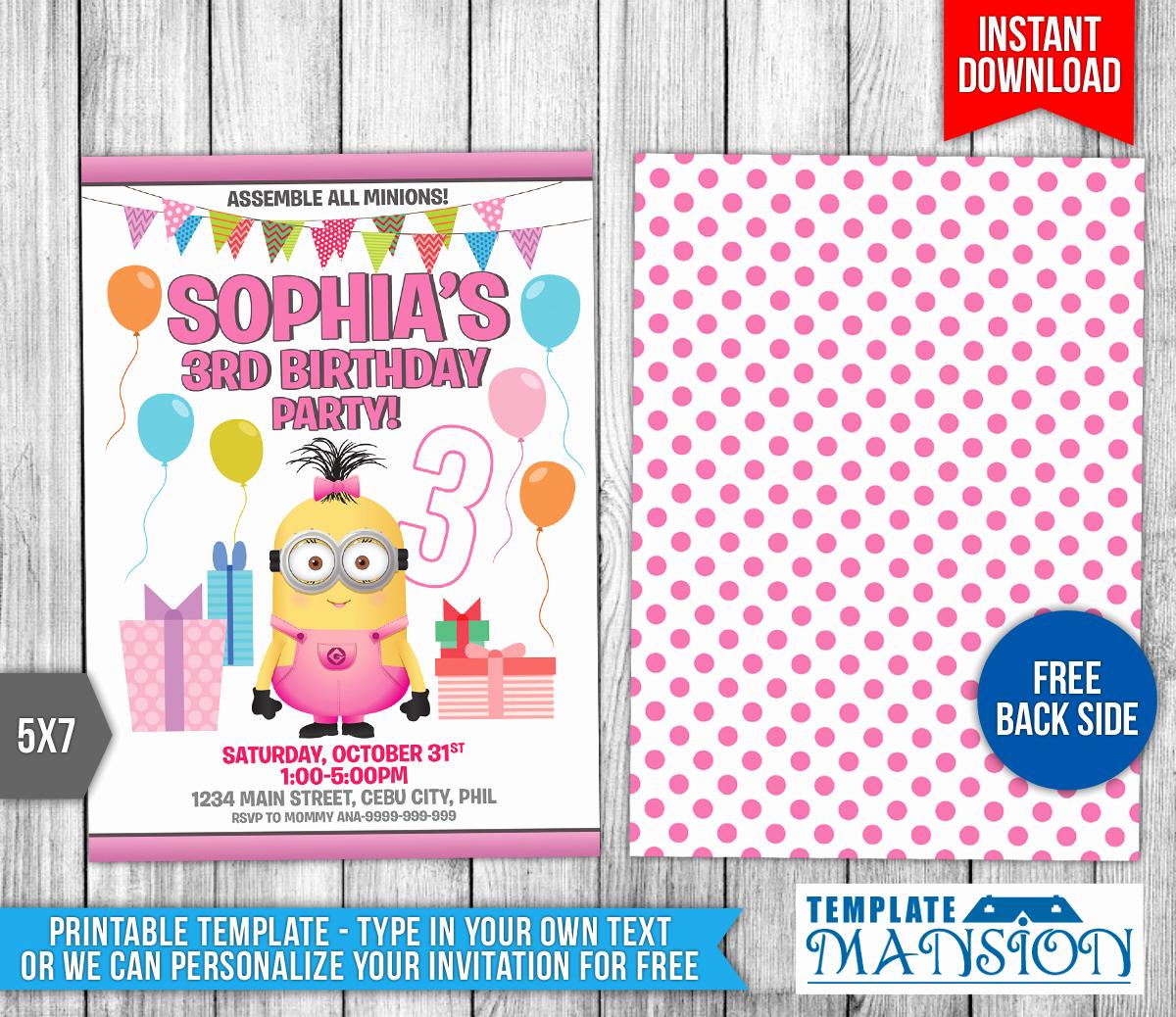 Free Minion Invitation Templates New Girl Minion Birthday Invitation Template 10 by