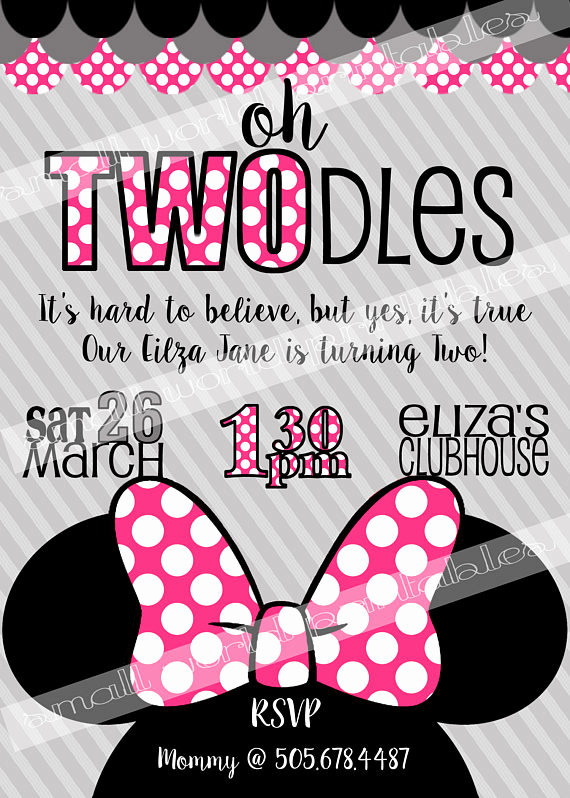 Free Minnie Mouse Invitation Maker Elegant Oh Twodles Invitations Free Thank You Cards toodles Minnie