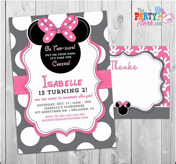 Free Minnie Mouse Invitation Maker Fresh Minnie Mouse Invitation Oh Twodles Invitation 2nd Birthday