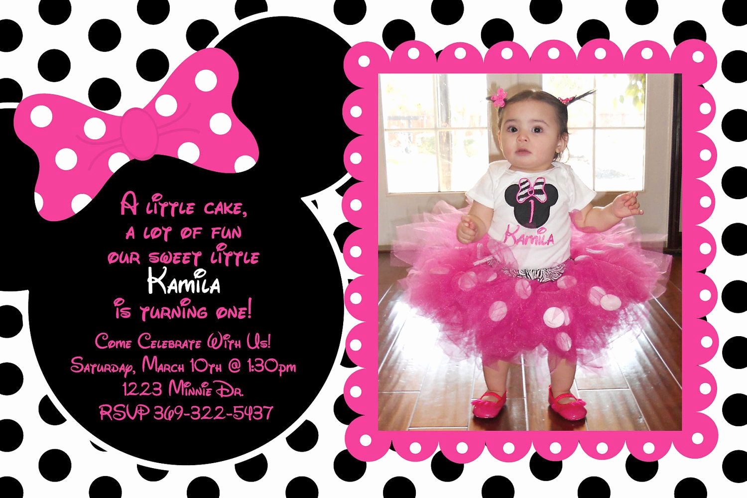 Free Minnie Mouse Invitation Maker Lovely Pink and Black Polka Dot Minnie Mouse Invitation or Thank