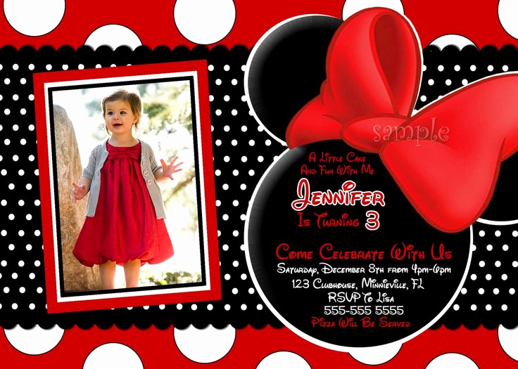 Free Minnie Mouse Invitation Maker Luxury 3 Year Old Birthday Party Invitation Wording