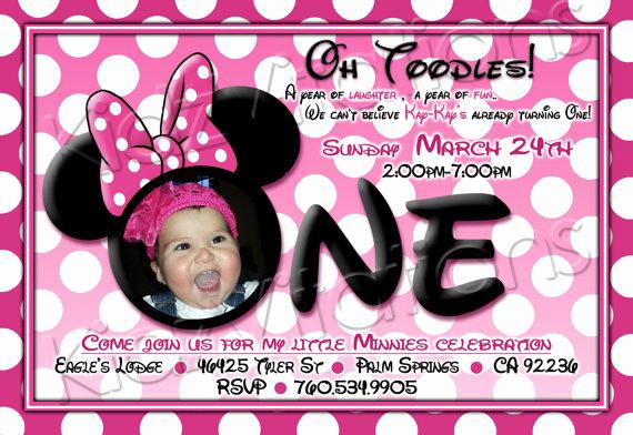 Free Minnie Mouse Invitation Maker Unique Free Printable Minnie Mouse 1st Birthday Invitations