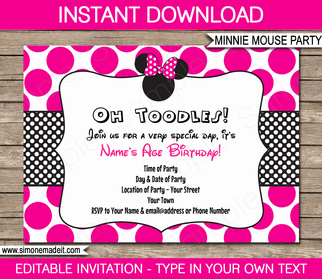 Free Minnie Mouse Invitation Template Awesome Minnie Mouse Party Invitations Template