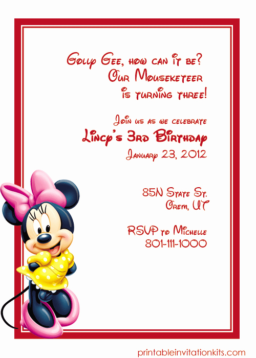 Free Minnie Mouse Invitation Template Beautiful Minnie Mouse Printable Invitations
