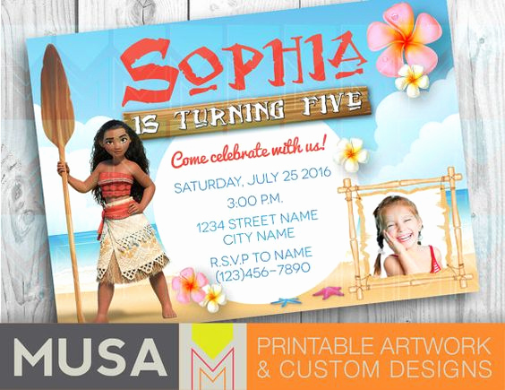 Free Moana Invitation Template Elegant Moana Digital Party Invitation Printable