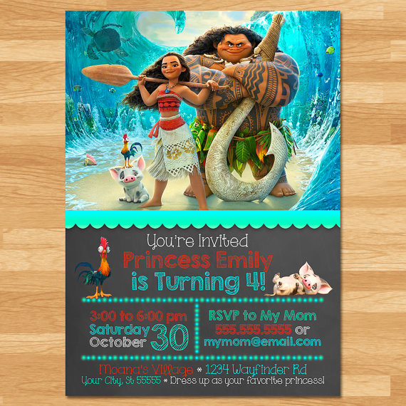 Free Moana Invitation Template Elegant Moana Invitation Chalkboard Moana Invite Disney Princess