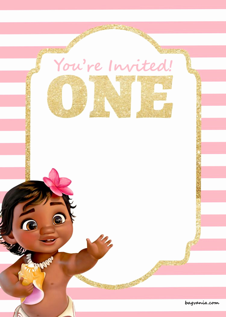 Free Moana Invitation Template Fresh Free Printable Disney Princess 1st Birthday Invitations