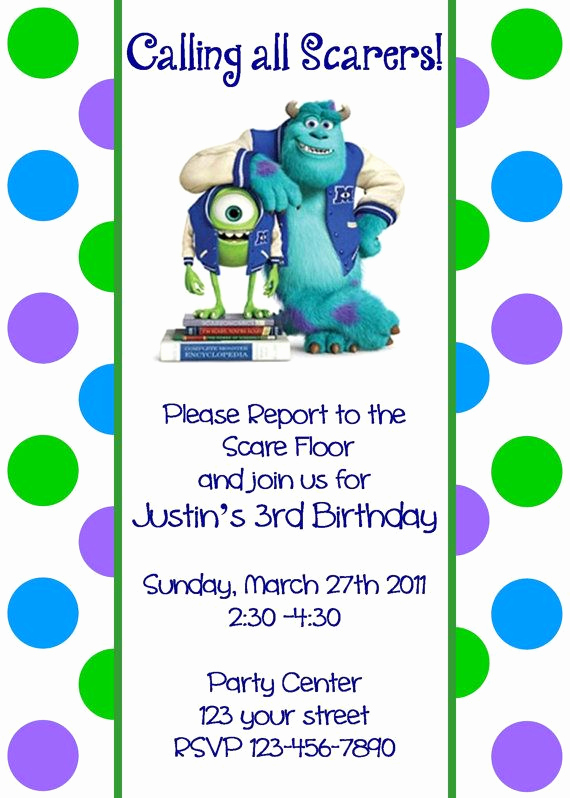 Free Monsters Inc Invitation Template Awesome Girls or Boys Monsters Inc Printable Birthday Party
