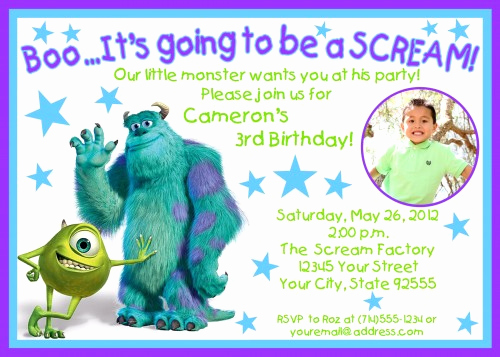 Free Monsters Inc Invitation Template Awesome Monsters Inc Birthday Invitations Ideas – Bagvania Free