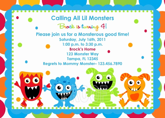 Free Monsters Inc Invitation Template Best Of Adorable Monster Birthday Invitations