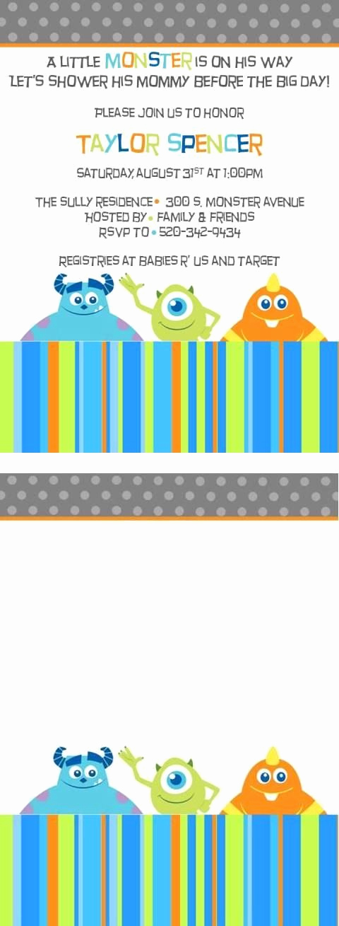 Free Monsters Inc Invitation Template Best Of Free Monster Inc Baby Shower Invite Template