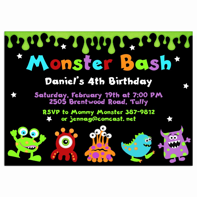 Free Monsters Inc Invitation Template Elegant Monster Birthday Invitations Party Invitation Printed