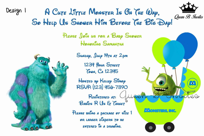 Free Monsters Inc Invitation Template Fresh Monsters Inc Baby Shower Invitation Digital File Free Thank