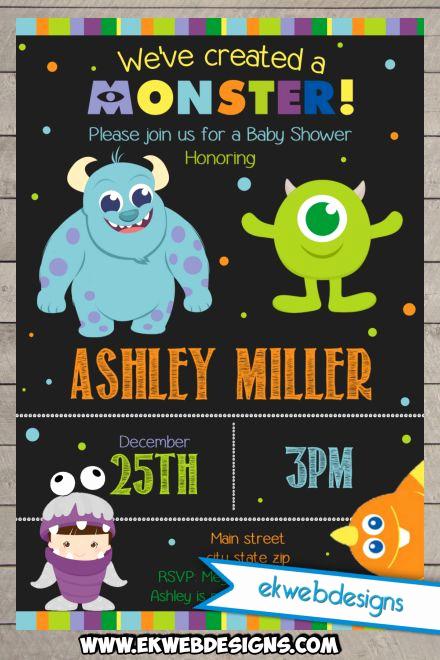 printable custom monster inc baby shower invitations