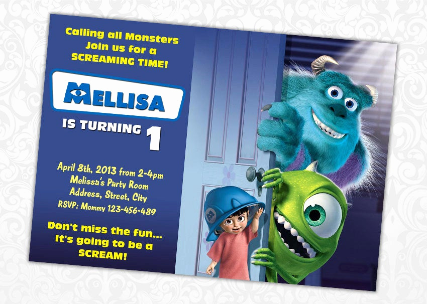Free Monsters Inc Invitation Template Inspirational Angela On Etsy