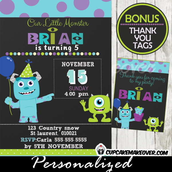 Free Monsters Inc Invitation Template Lovely Monsters Inc Party Invitation Card Boys Personalized D4