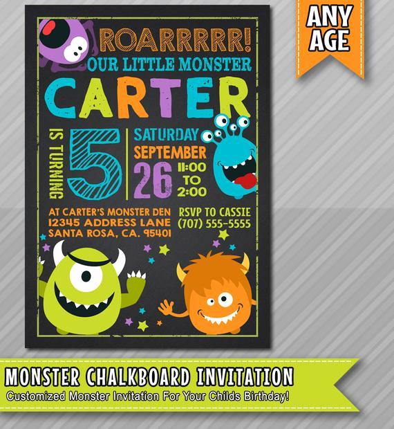 Free Monsters Inc Invitation Template Luxury Little Monster Birthday Invitation Monster by Wolcottdesigns