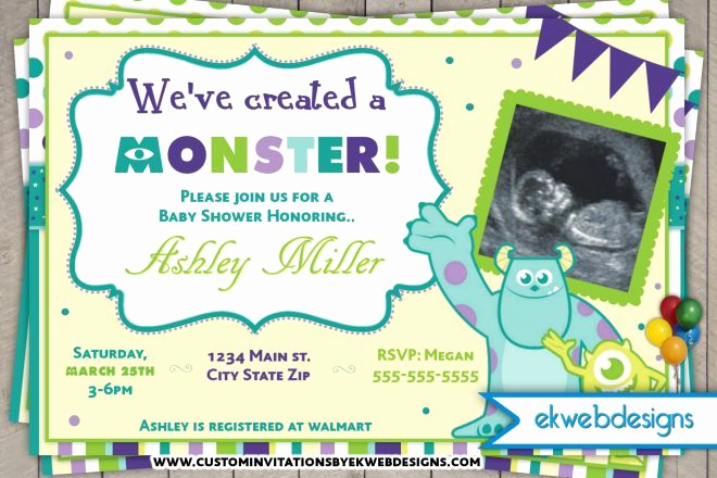 Free Monsters Inc Invitation Template New 1000 Ideas About Tattoo Baby Shower On Pinterest