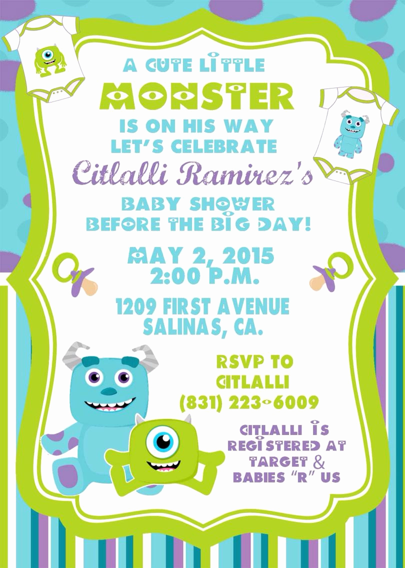 Free Monsters Inc Invitation Template New Monster Inc Baby Shower Invitations by sonalas Posh Paper