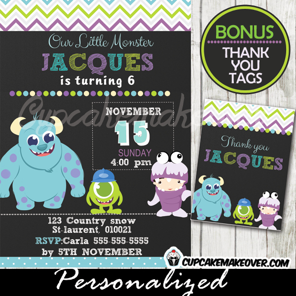 Free Monsters Inc Invitation Template New Monsters Inc Birthday Invitation Card Boys Personalized