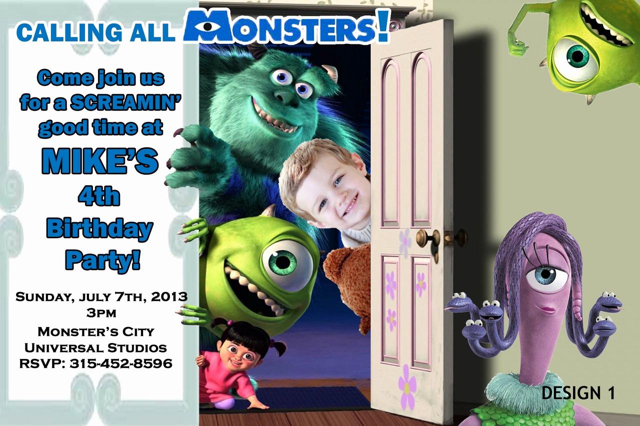 Free Monsters Inc Invitation Template Unique Monsters Inc University Birthday Invitations