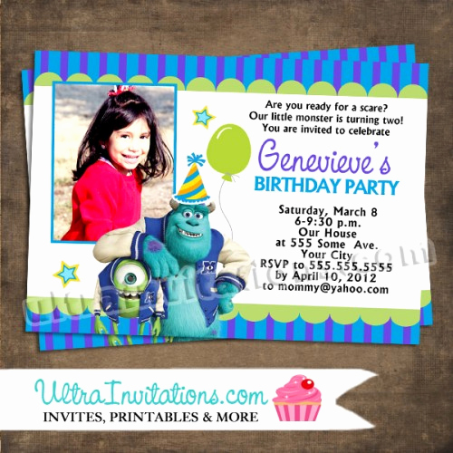 Free Monsters Inc Invitation Template Unique Monsters University Birthday Invitations Printable or