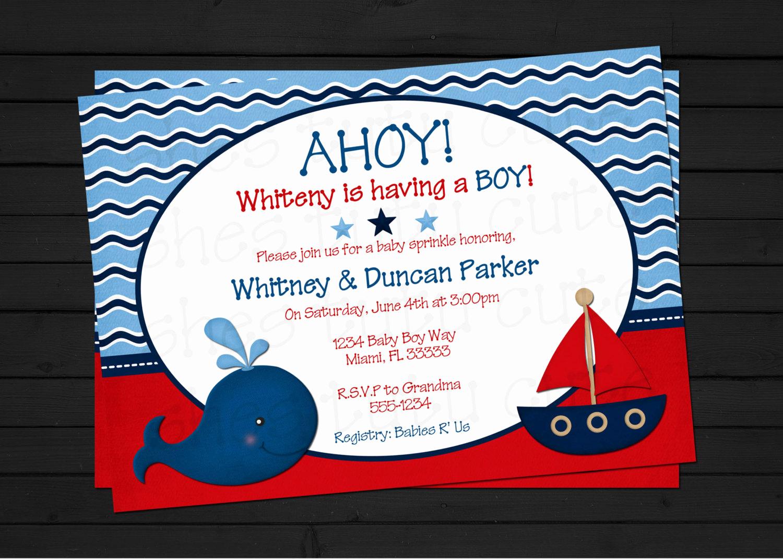 Free Nautical Invitation Templates Beautiful Nautical theme Baby Shower Invitations