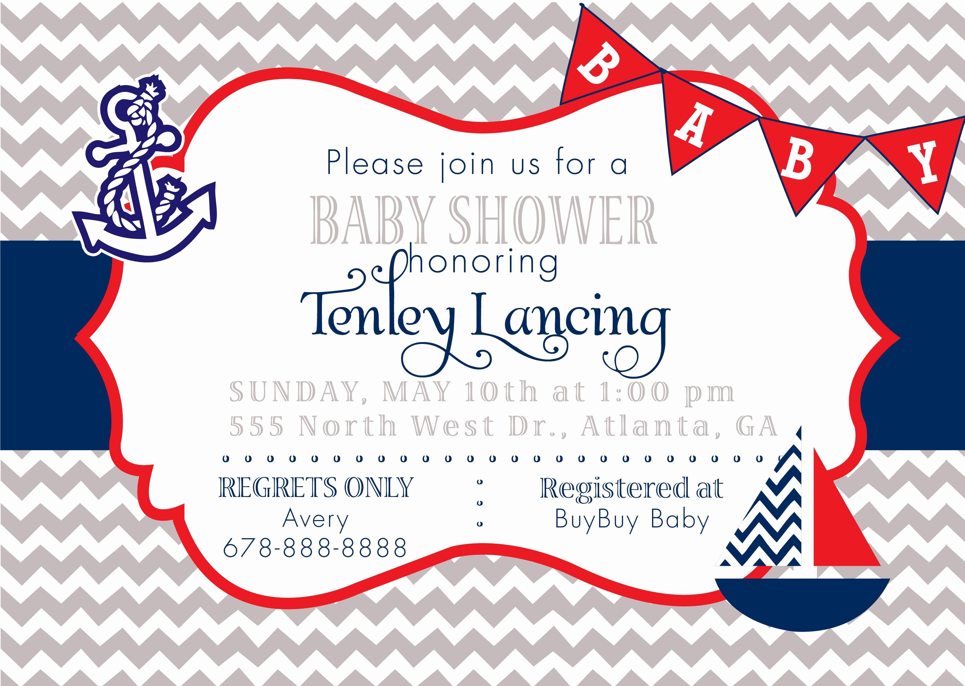 Free Nautical Invitation Templates Best Of Baby Shower Invitations Posey Baby Shower Invite