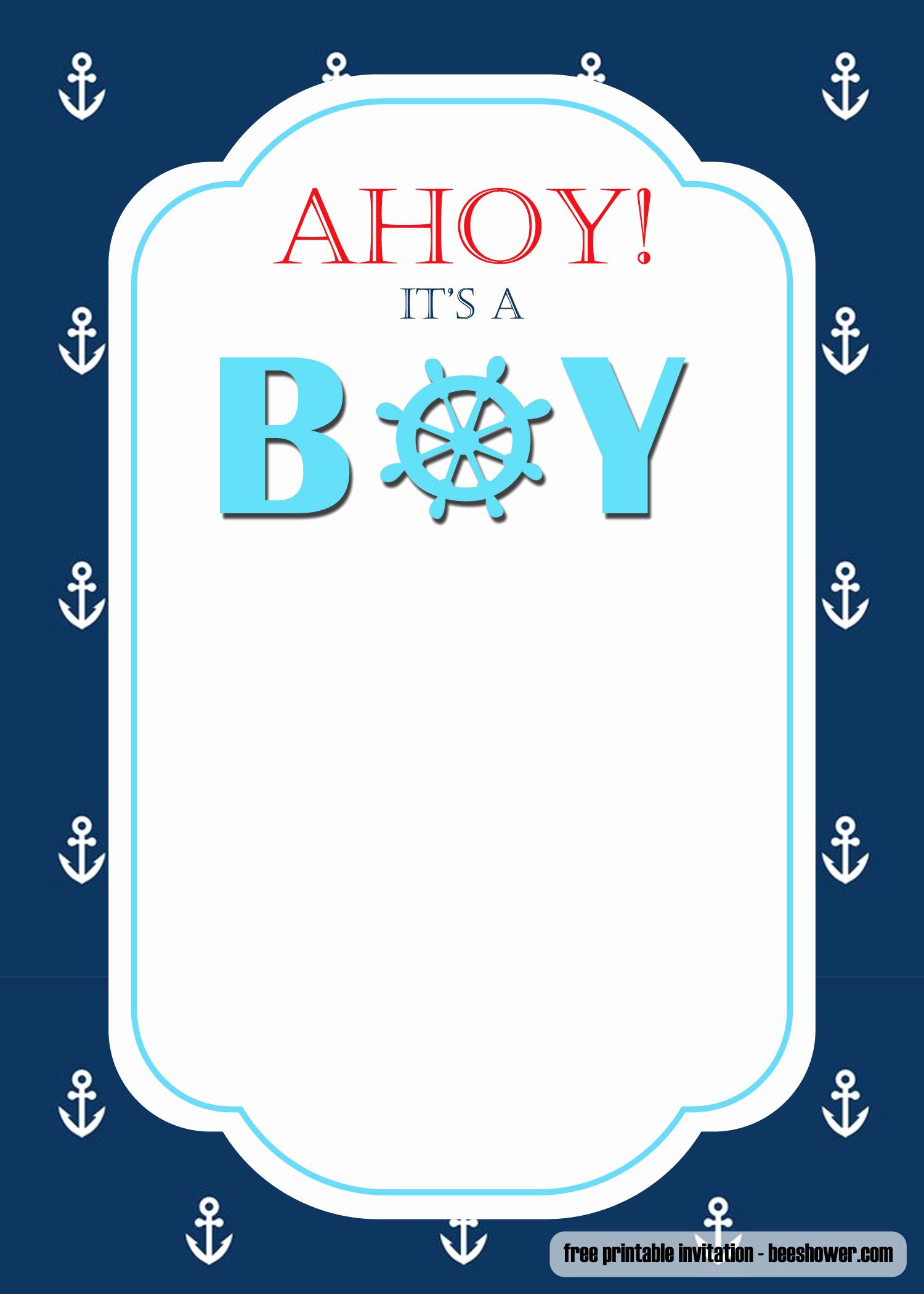 Free Nautical Invitation Templates Elegant Free Nautical themed Baby Shower Invitations Templates