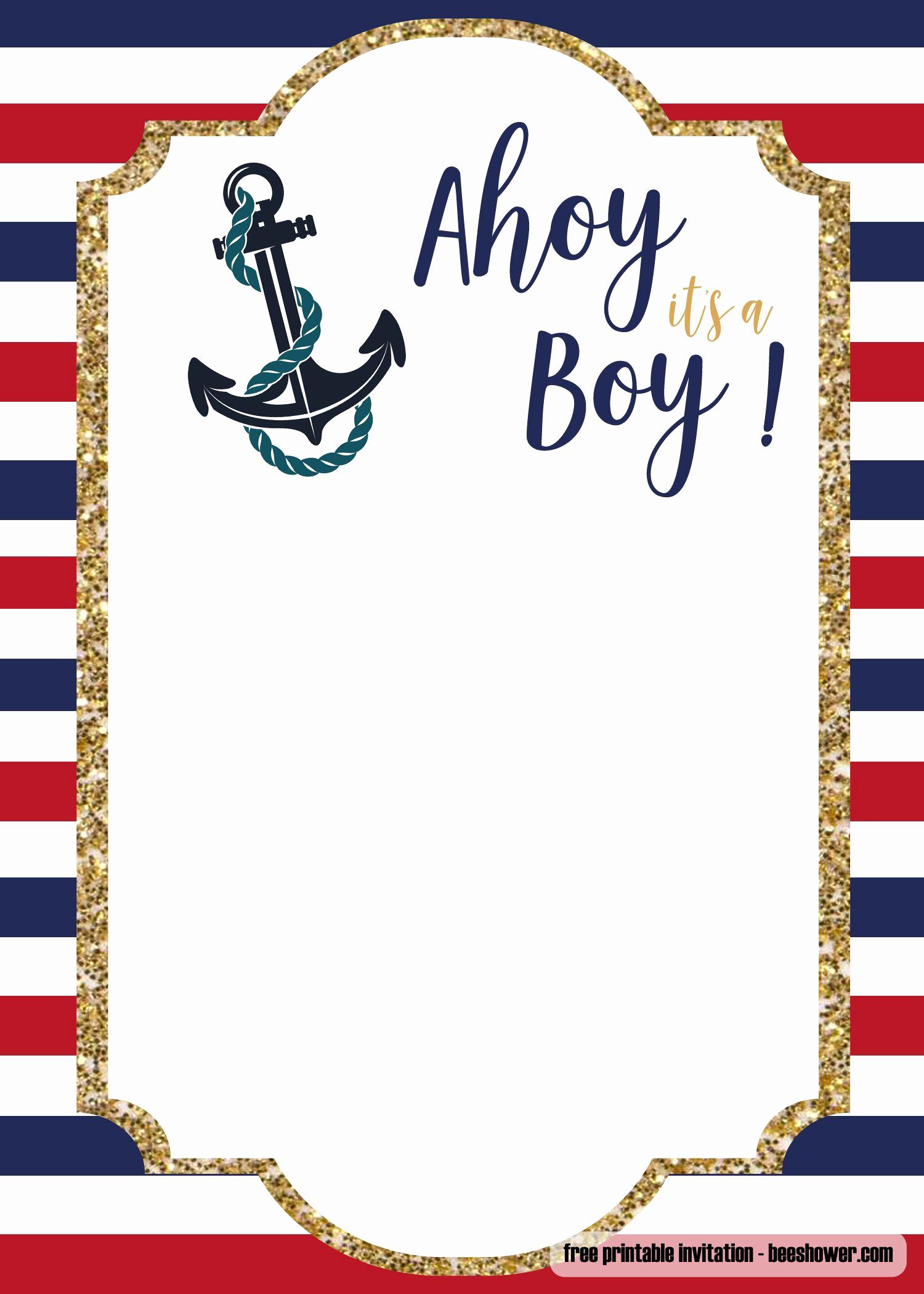 Free Nautical Invitation Templates Fresh Free Nautical Baby Shower Invitations